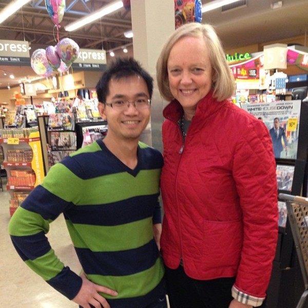 "My flatmate Sonny and I were shopping at our local Safeway when he suddenly grabbed my arm, turned me around and said, ""Hey that's Meg! Take a photo of us!"" She obliged! #hp"